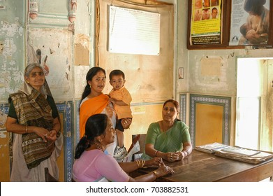 RAJASTHAN, INDIA - FEBRUARY 25, 2006: Women in the consultation of a doctor, in the town of Nayla Fort