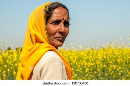 RAJASTHAN, INDIA � FEBRUARY 3: Portrait of a proud woman walking in the countryside on February 3, 2011 in Rajasthan.  Rajasthani people are renown as some of the most colorful people in India.