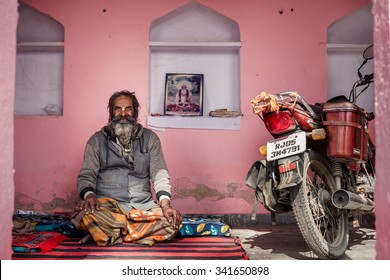 RAJASTHAN, INDIA - JANUARY 9, 2015: Hindu man on January 9, 2015 in Rajasthan, India
