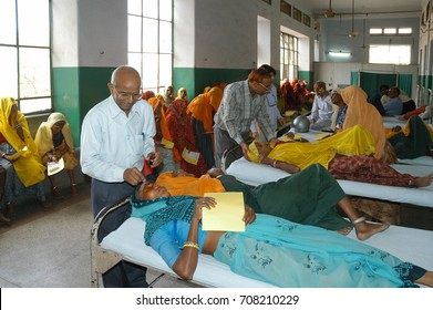 RAJASTHAN, INDIA - MARCH 04, 2006: Volunteer health staff, attending peasant groups, at Jaipur hospital