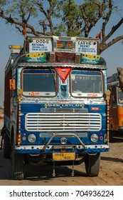 RAJASTHAN, INDIA - MARCH 05, 2006: Typically decorated truck, parked on the edge of one of the highways of the region