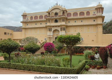 Rajasthan, India - march 10, 2006: Main facade and exterior gardens of the hotel Samode Bagh Palace, near the city of Jaipur