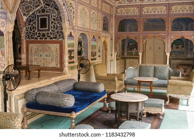 Rajasthan, India - march 10, 2006: Interior with decorations of geometric figures on columns and walls of one of the halls of the Samode Bagh palace hotel, near the city of Jaipur