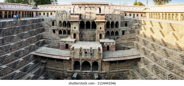 Rajasthan, India - March 10, 2018: The ancient Chand Baori Step well in the village of Abhaneri, Rajasthan State, India, which was built in the 10th century.