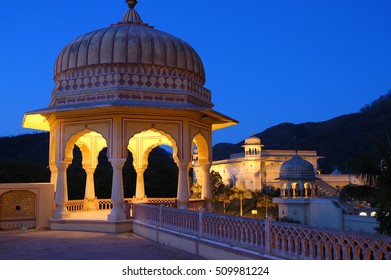 RAJASTHAN, INDIA - MARCH 14, 2006: Night lighting in the Govind temple on the outskirts of the city of Jaipur