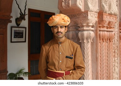 RAJASTHAN, INDIA - MARCH 20, 2006: Guard inside the Umaid Bhawan Palace in Jodhpur