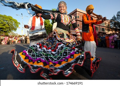 RAJASTHAN, INDIA - MARCH 30, 2009: people celebrating the god who protect them in the Gangaur festival one of the most important of the year