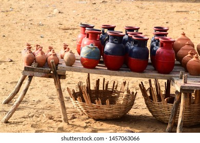 rajasthani  clay pottery artefacts make an interesting sight