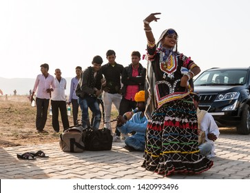 Rajasthani lady performing folk dance of Rajasthan (Kalbelia) during the pushkar camel fair : Pushkar, Rajasthan/India - Oct 2017