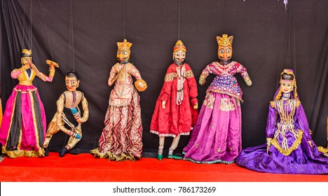 Rajasthani puppet dolls at Jaisalmer. Puppet show in Rajasthan is a popular tourist attraction.