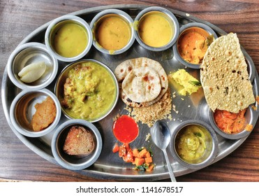 A Rajasthani thali filled with delicious food.
