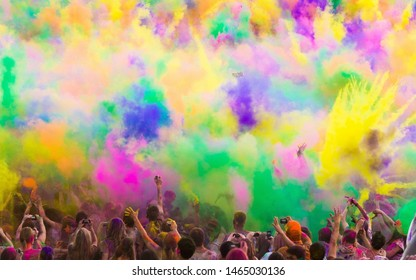 Rajasthan/India 03/21/2019 photo of Holi, the Hindu festival of colours