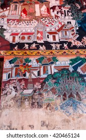 Rajburi, Thailand - April 13, 2016 : Dilapidated mural in buddha temple, Kong Ka Ram.The old ancient more than 200 year late to preserve.