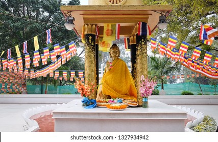 Rajgir, India - February 15, 2019: Venu Van, The first temple in theravada Buddhism.In the past, the park was owned by King Bimbisara. Given to  Buddha as a monastery.