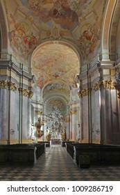 RAJHRAD, CZECH REPUBLIC - OCTOBER 6, 2012: Interior of the baroque church of Benedictine monastery and abbey of Rajhrad. It is the oldest monastery in Moravia