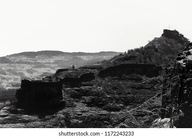 Rajmachi Fort Lonavala, Black and White.