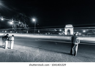 Rajpath in city lights, New Delhi, India, Asia. Night photography on freeway of Rajpath. It is the road that connects the famous India Gate and Rashtrapati Bhavan.