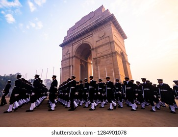Rajpath, New Delhi, India, January-2018: Soldiers of Indian Army in front of India Gate during Republic Day parade rehearsals