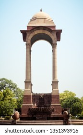 Rajpath, Raisina Hill, India Gate, New Delhi, India January 2019: The vacant canopy, constructed in red sandstone, a symbol of British's retreat from India. National War Memorial Or Amar Jawan Jyoti.