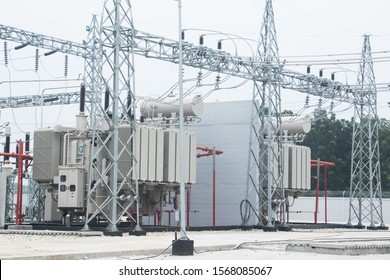 Rajshahi, Bangladesh - October 23, 2019: High voltage switchyard and electrical power substation.