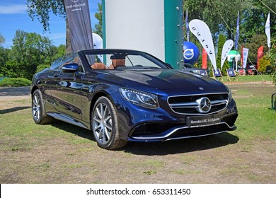 Rajszew, Poland - June, 03, 2017: Mercedes-AMG S 63 Carbiolet during picnic on the golf course.