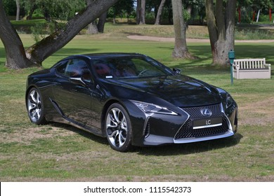 Rajszew, Poland - June, 09, 2018: Lexus LC new car during picnic on the golf course.
