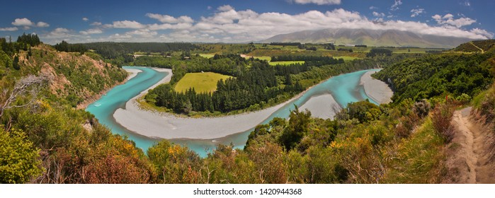 Rakaia river viewpoint, near Christchurch, New Zealand