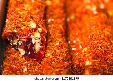 rakhat-lukum sprinkled with saffron, turkish sweets.
