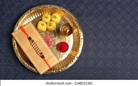 Rakhi thali, raksha bandhan or Rakshabandhan the Indian festival