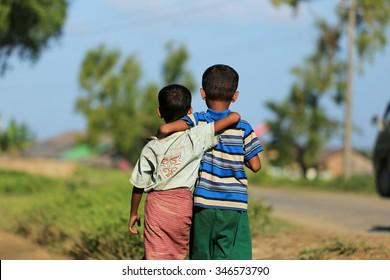 RAKHINE STATE, MYANMAR - NOVEMBER 04 : Rohingya children who went neck, on NOVEMBER, 2015 in Sittwe, Myanmar.