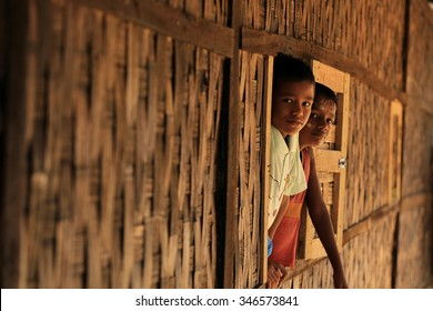 RAKHINE STATE, MYANMAR - NOVEMBER 04 : The Rohingya children looking out the front of the classroom, on NOVEMBER, 2015 in Sittwe, Myanmar.