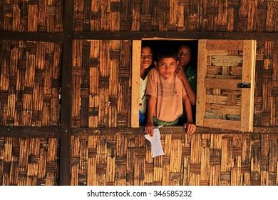 RAKHINE STATE, MYANMAR - NOVEMBER 04 : Unidentified rohingya children poses for the photo, on NOVEMBER, 2015 in Sittwe, Myanmar.