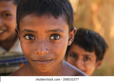 RAKHINE STATE, MYANMAR - NOVEMBER 04 : Unidentified rohingya children poses for the photo, on NOVEMBER, 2015 in Sittwe, Myanmar.