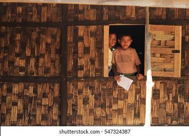 RAKHINE STATE, MYANMAR - NOVEMBER 04 : Unidentified rohingya children pose for the photo, on NOVEMBER, 2015 in Sittwe, Myanmar.