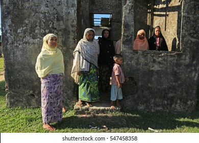RAKHINE STATE, MYANMAR - NOVEMBER 04 : Unidentified rohingya people pose for the photo, on NOVEMBER, 2015 in Sittwe, Myanmar.