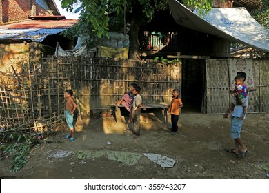 RAKHINE STATE, MYANMAR - NOVEMBER 05 : Hundreds of Muslim Rohingya are suffering severe malnutrition in overcrowded camps in Myanmar