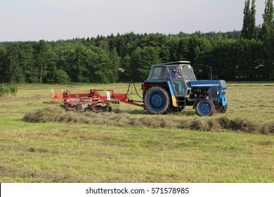 Raking hay into rows for baling, old blue tractor working on field certified as bio agriculture, cloudy autumn day, side perspective