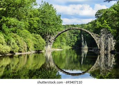 Rakotz bridge in Kromlau, Saxony, from 1863 to 1882 from basalt and fieldstones builds