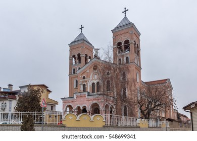 RAKOVSKI, BULGARIA - DECEMBER 31 2016: The Roman Catholic church of St Michael the Archangel in town of Rakovski, Bulgaria