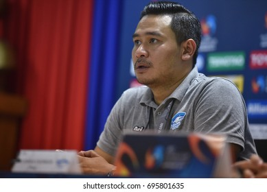 Rakphol SaiNetngam Head Coach of Bluewave Chonburi interviews after AFC Futsal Club Championship Vietnam 2017 Match Bluewave Chonburi and Shriker Osaka at Phu tho Stadium on July 27,2017 in Vietnam.