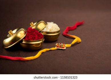 Raksha Bandhan Background Elegant Rakhi Rice Stock Photo