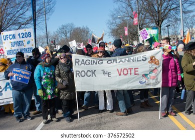 RALEIGH - FEBRUARY 13: Thousands of protesters showed up in downtown Raleigh and braved the cold Saturday as they participated in the 10th Annual Moral March, on February 13, 2016 in Raleigh, USA. .
