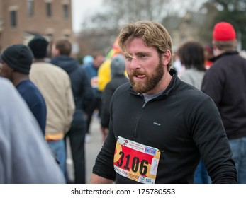 RALEIGH - FEBRUARY 8: The 8000 runners of the Krispy Kreme Challenge raised $200.000 for the Children's hospital, on February 8, 2014 in Raleigh, USA. It was the 10th time the race was held.