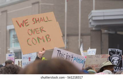RALEIGH - JANUARY 21: A huge crowd turned up in the streets of downtown Raleigh for the Women's March, on January 21, 2017 in Raleigh, USA.
