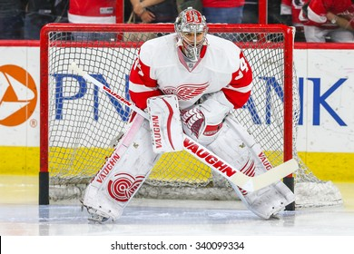 RALEIGH, NC  April 11, 2015: Detroit Red Wings goalie Petr Mrazek (34) during the NHL game between the Detroit Red Wings and the Carolina Hurricanes at the PNC Arena.