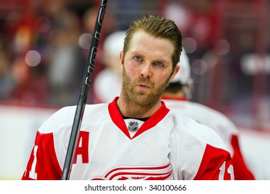 RALEIGH, NC April 11, 2015: Detroit Red Wings right wing Daniel Cleary (11) during the NHL game between the Detroit Red Wings and the Carolina Hurricanes at the PNC Arena.
