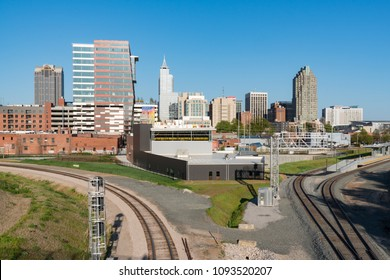 RALEIGH, NC - APRIL 17, 2018: Raleigh, North Carolina Skyline from the Boylan Avenue Bridge