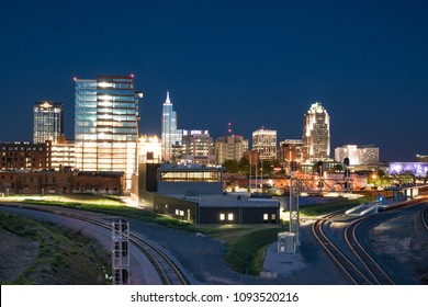 RALEIGH, NC - APRIL 17, 2018: Raleigh, North Carolina Night Skyline from the Boylan Avenue Bridge