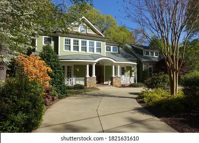 Raleigh, NC - April 2020: A Beautiful All American Neighborhood Home