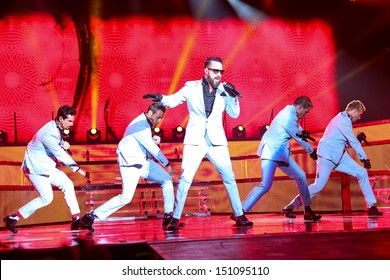 Raleigh, NC - August 20:  The Backstreet Boys live in concert on their 20th anniversary and In A World Like This Tour on August 20, 2013 in Raleigh, NC.